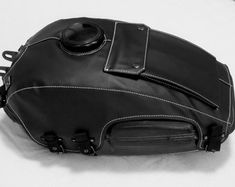 URAL fuel gas tank cover of black leatherette with hole for toolbox and 2 pockets Motorcycle Cover, Scrambler Motorcycle, Motorcycle Tank, Motorcycle Girls, Bobber, Bike Accessories, Leather Accessories, Leather Case, Leather Backpack