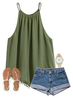 #spring #outfits / denim shorts + tank top