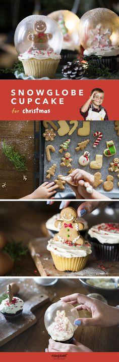 DIY: Snow Globe Cupcakes for Christmas Make these awesome cupcakes now! Snow Globe Cupcakes, Christmas Cupcakes, Cupcake Recipes, Cookie Recipes, Cupcake Cakes, Cupcake Ideas, Christmas Makes, Christmas And New Year, Christmas Diy