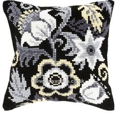 Buy Black and White Flowers 1 Cushion Front Chunky Cross Stitch Kit Online at www.sewandso.co.uk