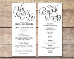 Simple Wedding Program - Customizable - Elegant Design - Simple Classic Wedding - Black and White Wedding - Printable Digital Program