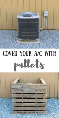 AC Unit Cover You Can Make In Just 45 Minutes With Pallets - This DIY pallet air conditioning cover couldn't be any easier. If you're looking for a quick wa - Ac Unit Cover, Ac Cover, Wooden Pallets, Pallet Wood, Pallet Benches, Pallet Tables, 1001 Pallets, Recycled Pallets, Wood Pallet Shelves