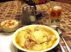 Chicken Pot Pie (the real Pennsylvania Dutch Way!)    Note: This pie does not have a crust, but the crust is made into very wide and large noodles and placed inside the stew!