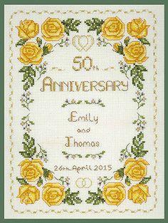 Roses Golden Wedding Anniversary Sampler - Cross Stitch Kit on 14 aida in Crafts, Cross Stitch, Cross Stitch Kits | eBay