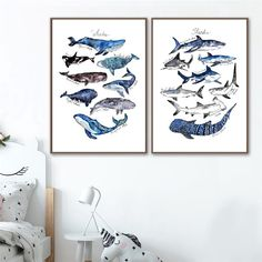 Watercolor Whale Print Nursery Wall Art Canvas Painting Shark Poster Beach Nautical Wall Picture Decor Kids Room Wall Decoration Kids Room Wall Art, Nursery Wall Art, Wall Art Decor, Sea Nursery, Canvas Poster, Canvas Art Prints, Canvas Wall Art, Nursery Paintings, Nordic Art
