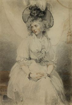 """Mary Hamilton, who I strongly suspect from her headgear to be one of my forebears. """"I've put on seven yards of black ribbon and the brim is three feet wide but I don't know -- it isn't making enough of a statement. Shall I stick on some ostrich feathers? Oh, it can't hurt."""" Lovingly committed to drawing paper by Thomas Lawrence."""