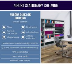 Find tips on how to choose the right shelving storage system for your office in this informative infographic from the experts at Aurora Storage. Storage Rack, Storage Boxes, Storage Shelves, Shelving, Lateral File, Choose The Right, Library Books, Cabinet Design, Rotary