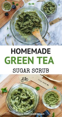 Tea Mint Sugar Scrub An easy DIY homemade sugar scrub made with green tea and mint -- perfect for keeping by your kitchen sink.An easy DIY homemade sugar scrub made with green tea and mint -- perfect for keeping by your kitchen sink. Body Scrub Recipe, Sugar Scrub Recipe, Diy Body Scrub, Diy Scrub, Diy Cosmetic, Zucker Schrubben Diy, Sugar Scrub Homemade, Diy Skin Care, Skin Care Tips
