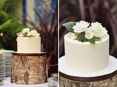 Modern cake on 'log' base adorned with ribbon, pearls and flowers