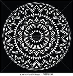 Tribal folk round Aztec geometric pattern on black by RedKoala #mandala