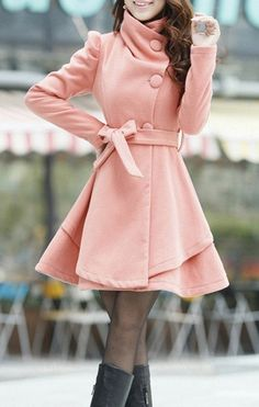 Pink Long Coat/ Winter Coat/Woman coat/ Long by Eloneeclothing, $60.00
