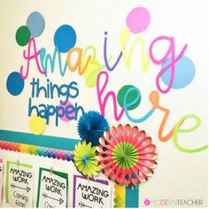 "Add some motivation to your classroom walls for back to school! This ""Amazing Things Will Happen Here"" download are letters you can print on cardstock, cut out, and laminate. Add to your walls and voila! Ready to go for a new year! You can also use these letters for"