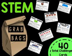 STEM Grab Bags includes 40 challenge task cards for students to use at a Maker Space, STEM Center, or early finisher center!There are 4 different challenges that are thematic for each month:September-JuneSet your students' creativity free with these STEM Grab Bag Challenges!Please rate & leave feedback after purchasing and using with your students.