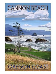 Cannon Beach, or - Oregon Coast View Art Print by Lantern Press at Art.com