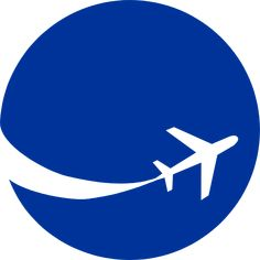 Illustration of an airplane silhouette on a blue circle : Free Stock Photo