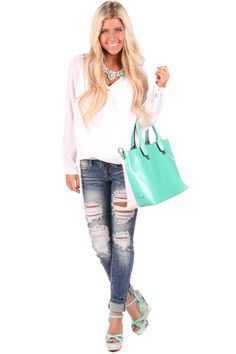 Mint and White Two Tone Tote