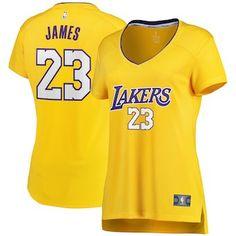 48fe26e2849 LeBron James Los Angeles Lakers Fanatics Branded Women s 2017 18 Fast Break  Replica Jersey Gold