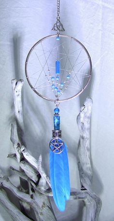 VENTE 20 % de réduction Wiccan Dream Catcher mural argent pentagramme Protection amulette celte Protection sorcellerie Magick Turquoise ornement