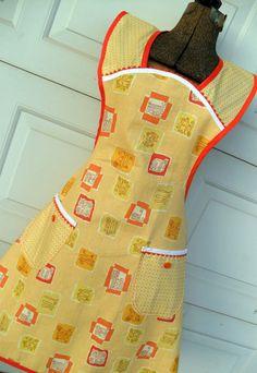 Retro Style Full Apron in Vintage yellow and Orange 40s Kitchen Print Handmade. $27.00, via Etsy.