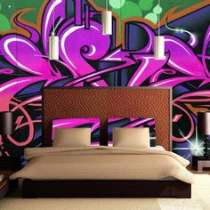 Loads of ideas for teenagers bedroom walls, including tese Graffiti styles wallpaper murals.