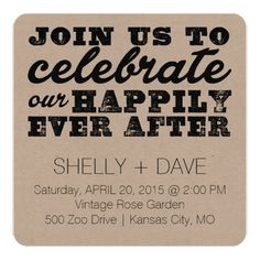 Simple Wedding Reception Happily Ever After Wedding Invitation