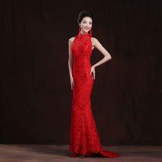 2016 Red Lace Trailing Evening Dress Chinese Bride Wedding Qipao Long  Cheongsams Traditional Qi Pao Vestidos 17a71ef2676f