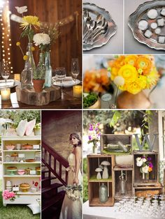 rustic vintage wedding. Love the stacks of boxes and the last initial.