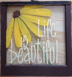 Hand painted window instead of a traditional painting or photograph /// easy for anyone to add a personal and fun touch to their home Upcycled Crafts, Diy Crafts, Repurposed, Picture Frame Crafts, Picture Frames, Window Screen Crafts, Old Window Crafts, Diy Projects To Try, Craft Projects