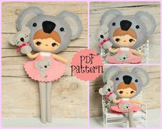 PDF. Koala girl with puppet. Plush Doll Pattern Softie by Noialand