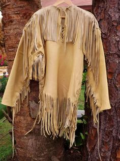 Buckskin Leather Mens Shirt- Native American Style XL Long Sleeved Leather Shirt with Fringe