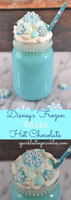 Not only is the Disney's Frozen White Hot Chocolate creamy and delicious, it is BEAUTIFUL! Your Frozen fan will absolutely freak out when they see this.  Pin for Later!