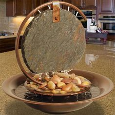 Order the Bluworld Mini Moonshadow Slate Tabletop Fountain w/LED Light Ring today from Trickle & Flow. Best selection of indoor tabletop water fountains! Tabletop Water Fountain, Indoor Water Fountains, Indoor Fountain, Fountain Ideas, Wall Fountains, Fountain Design, Indoor Water Features, Waterfall Fountain, Rustic Stone