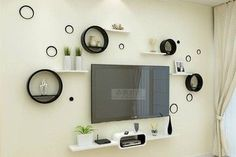 Wanddecoratie Tv – Wall accessories – Welcome The Tv Units Modern Tv Unit Designs, Modern Tv Wall Units, Living Room Tv Unit Designs, Interior Design Living Room, Tv Unit Decor, Tv Wall Decor, Family Wall Decor, Tv Cabinet Design, Tv Wall Design