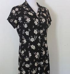 Women's Size 12 Ralph Lauren Silk Black & White Floral Fully Lined Dress #RalphLauren