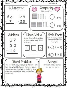 Math for second grade--Freebie--click on preview for FREE sample pages