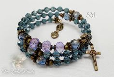 Rosary Bracelet Blue Crystal Rosary Wrap by OURLADYBeads on Etsy