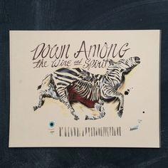 Felled Zebra 11 x 14 by markpenxa on Etsy - painting, script, hand lettered