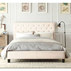 Chester Queen Bed Frame in Light Beige White Fabric shopping, Buy SALE online at MyDeal for best deals, coupons, bargains, sales