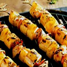 Grilled Chicken, Plantain and Pineapple Skewers