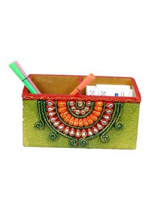 Handmade Paper Mache Pen Pencil Stand with Visiting Card Holder