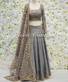 Soft, flowy, flattering fabric but for an Anarkali not a lehenga. Work on a HUGE dupatta. Not sure about this colour (grey feels a bit dull) but could work. Pakistani Dresses, Indian Dresses, Indian Outfits, Indian Clothes, Indian Bridal Wear, Indian Wear, Desi Wear, Lehenga Designs, Indian Lehenga