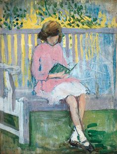 mary ethel hunter(1878–1936), girl reading. oil on wood, 41.2 x 32.4 cm. leeds museums and galleries, uk  http://www.bbc.co.uk/arts/yourpaintings/paintings/girl-reading-38036