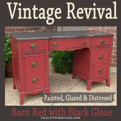 Vintage Vanity Desk in Espresso & Barn Red – Facelift Furniture - Rebel Liposuction Redo Furniture, Red Distressed Furniture, Refinished Vanity, Vanity Desk, Vintage Desk, Red Barns, Distressed Furniture, Chalk Paint Desk, Red Painted Furniture