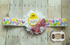 Spring Peep Shabby Flower Headband by CountryQTBowtique on Etsy