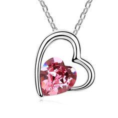 [$4.33] Swarovski Elements Crystal Necklace - My Heart Will Go (Colour: Rose Red)