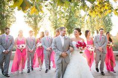 Ppink and grey bridal party. Photo by Kaysha Weiner www.kayshaweiner.com