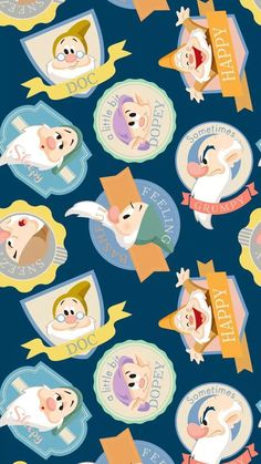 Snow White and the Seven Dwarfs Wallpaper Disney/ papéis de parede Cartoon Wallpaper, Disney Phone Wallpaper, Wallpaper Iphone Cute, Cute Wallpapers, Baby Wallpaper, Wallpaper Ideas, Mobile Wallpaper, Disney Kunst, Disney Art