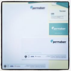 Permaban's stationery items closely follow the new brand identity with a clean and strong design