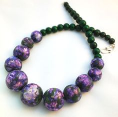 Purple and green flower pattern necklace  Lilac by AnaPrana, $25.00