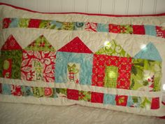 Pillow Sham Quilted with House Design